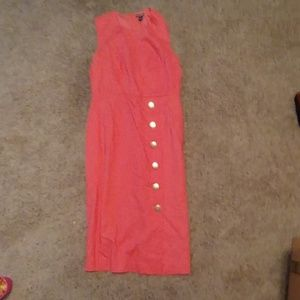 Nina Leonard Peach colored linen dress
